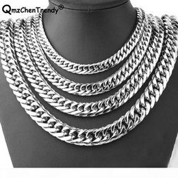 silver link chains for men Canada - 9mm 11mm 13mm 16mm 19mm 21mm Men Chain Silver Color Stainless Steel Cuban Chain Necklace for Men Curb Cuban Link Hip Hop Jewelry