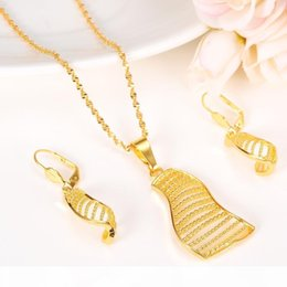 sailing jewelry NZ - P Women Fashion Gift Jewelry Set Necklace Plain Sailing Earrings Pendant Wedding Sets 24k Real Yellow Solid Fine Gold Gf Long Hang