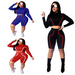 spring joggers wholesale NZ - Spring Summer Bodycon Slim Tracksuit Long Sleeve Striped Sweatshirt Tops + Shorts 2 piece Women Set Jogger T Shirt Short Pants Outfits Suit