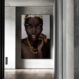 black gold wall art Canada - Nordic Black and Gold Africa Woman Modern Wall Art Canvas Paintings High Definition Figure Wall Pictures Living Room Home Decor
