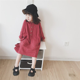 Wholesale turn style dresses for sale - Group buy INS Spring Autumn Kids Little Girls Dresses Korean Style Turn down Collar Lovely Cotton Children Princess Dress Bountique Clothes