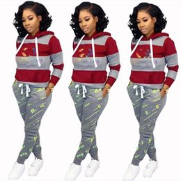 wholesale printed yoga pants UK - Women brand 2 piece set tracksuit fall winter clothes jogger suit pants sweatsuit hoodies leggings outfits outerwear pullover bodysuits 0218