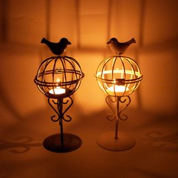 white bird decorations UK - 1 PC Tall Large Black White Candle Lantern Europe Portable Hanging Small Tea Light Candle Holders Bird Cage Candle Stand