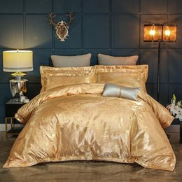 king size bedding sets gold Canada - Silk Satin Cotton Luxury Bedding Set Queen King size Gold Grey Bed set Duvet cover Fitted Bed sheet linge de lit ropa de cama
