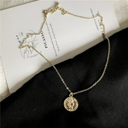 white gold coins NZ - Fun retro portrait gold coin necklace sweater chain korean temperament simple design street chain girl 622