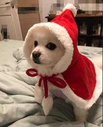 santa coat costume UK - Christmas Supplies Pet Dog Red Hooded Cloak Cape Fashion Dog Cat Puppy Shawl Costumes With Hat Coat Santa Claus Clothes Gift Pet Epacket