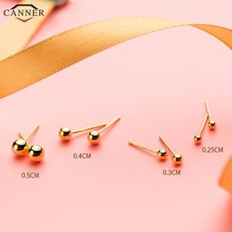studs for ear piercing Australia - Small Ball Stud for Women Girls 925 Sterling Silver Earrings Gold Color Ear Piercing Jewelry Cute Earings 2019 H40