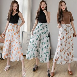 Wholesale chiffon wide legged trousers for sale – dress Korean Fake Two Pieces High Waist Pretty Girls Print Chiffon Culottes Pants Women Summer Trousers Wide Leg Pants
