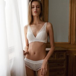 Wholesale french lace pattern for sale - Group buy Vintage Lace Deep V Thin Cup Bra without Stones Diamond Pattern French Wireless Seamless Underwear Set Lingerie for Women Y200708