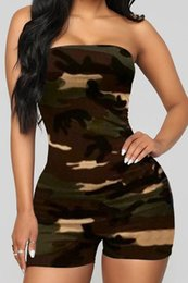 Wholesale tube top rompers for sale – dress 2020 New Clothing Cheap China European and American Women s Jumpsuits Rompers Sexy tube top strapless camouflage short jumpsuit