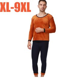 Wholesale long johns warm winter pants resale online - 2020 new autumn winter men thicken thermal underwear suits men long johns golden velvet soft warm sets shirt pants