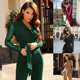 Wholesale jumpsuit formal resale online – Office Wear Formal Overalls For Women Elegant Casual V neck Long Sleeve Jumpsuit Wide Leg Romper Playsuit Combinaison Femme