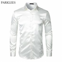 mens wedding shirts red Canada - Stylish White Silk Satin Shirt Men Chemise Homme Casual Long Sleeve Slim Fit Mens Dress Shirts Business Wedding Male Shirt CX200717