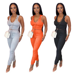 Wholesale sleeveless hooded pullover online – oversize Women piece set tracksuit summer clothing sexy club t shirt pants sportswear pullover leggings outfits hooded sleeveless bodysuits