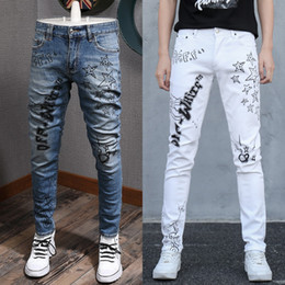 Wholesale men's white jeans for sale - Group buy Blue And White Multi Printed Effect Jeans Men s Detail Fading Slim Fit Denim Cotton Jeans Pockets