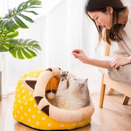 pet figures UK - Cat cat's supplies dog's four seasons Universal Pet pet cartoon animal's nest semi-closed pet's nest dog house removable and washable
