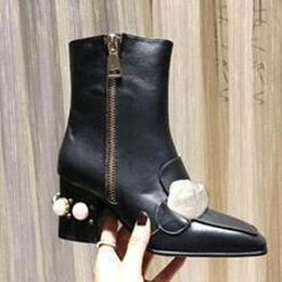 paint half shoes NZ - Original Martin boots 100% cowhide women Shoes Leather High-heeled women boots metal buckles Fashion short boots 35-42 Z88