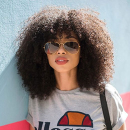 short afro kinky human hair Australia - Mongolian Afro Kinky Curly Lace Front Human Hair Wigs With Bangs Short Human Hair 13x6 Lace Frontal Bob Cut Wig