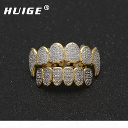 teeth fangs UK - Punk Gold Color Hip Hop Micro Pave Cubic Zircon Teeth Grillz Caps Top &Bottom Men Women Vampire Fangs Grills Set