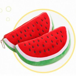 old fashion stationery Australia - 1pc Fashion Cute Watermelon Fruit Velvet Wallet Pencil Case Pen Bags Purse Plush Toy Stationery Woman Make Up Cosmetic Handbag a6oi#