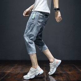 korean baggy pants men NZ - Korean Style Men Baggy Ripped Jeans Man Blue Straight Stretch Jean Calf-Length Pants 2020 Fashion Summer Distressed Short Denim
