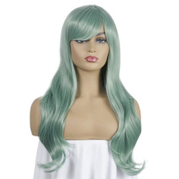 wig nets NZ - Body Wave Wavy Synthetic Green Wigs Pink 613#Blonde Heat Resistant Wire Blonde 613# Button Net Elastic Fiber Wigs Fashion Hairstyles Cosplay