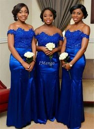 t length blue wedding dresses UK - Royal Blue Mermaid African Bridesmaid Dresses Off The Shoulder Appliques Bodice Wedding Guest Dresses Floor Length Customized