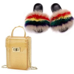 ladies jelly slippers UK - Womens Candy Crossbody Phone Purse Ladies Fur Slippers Jelly Handbag Shoulder Bag Shoes Sets Woman Fluffy Slides Fur Sandals