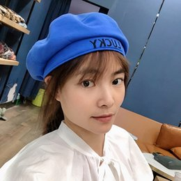 hats words UK - Four seasons available short hat beret word lucky letter embroidered flat beret female Korean style chic all-match trendy hat