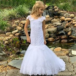 baby formal wear UK - O-Neck Kids Formal Wear Birthday Christmas Girls Pageant Baby Children Party Dress Tulle Lace White Custom Flower Girls Dresses