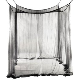 corner beds UK - 4-Corner Bed Netting Canopy Mosquito Net for Queen King Sized Bed 190*210*240cm (Black)