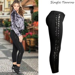 street jeans women 2021 - Sequin Side Stripe Black Skinny Jeans Women High Street England Slim Push Up Denim Pants Mujer Fashion Spliced Vaqueros Mujer