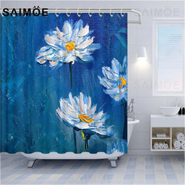 curtain painting UK - VIXMHOME Daisy Oil Painting Shower Curtains Flower Landscape Bathroom Curtians Waterproof Modern Impressionism Bath Curtain Decor With Hooks