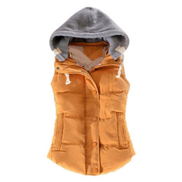 Wholesale yellow vests for sale - Group buy Waistcoat Women Autumn Winter Color Block Sleeveless Hooded Waistcoat Warm Thick Vest Coat Vests Female Women Hooded