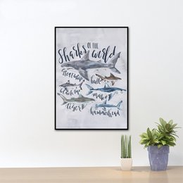 shark types NZ - Shark Type Chart Species Art Decor Prints And Poster , Watercolor Sharks Canvas Painting Prints Boys Nursery Nautical Wall Decor