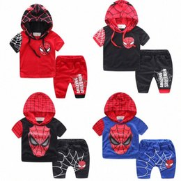 kids shorts pants for summer Canada - Boys Clothing Set Cosplay Clothing Set For Boys summer Short sleeve Hoodies + Pants 2Pcs Kids Clothes Suit LJrU#