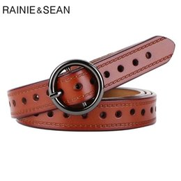 brown leather belts for women NZ - RAINIE SEAN Genuine Leather Women Belt High Quality Real Leather Cowskin Belt Women for Jeans Brown Black Red White Waist Belts