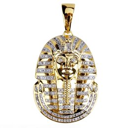 pharaoh chain pendant Australia - Hip Hop Micro Pave Copper with Zircon Egyptian Pharaoh Pendant Necklace Jewelry Bling Bling 24inch Chain