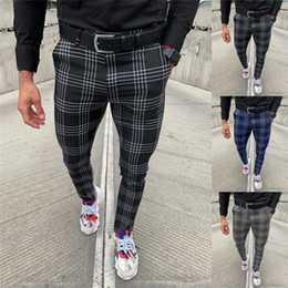 Wholesale plaid pants for sale - Group buy Mens Plaid Slim Pants Casual Zipper Fly Mid Waist Business Trousers Male Casual Pants