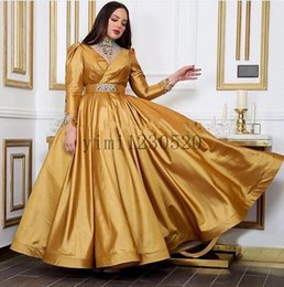 occasion dresses long sleeves UK - Gold Prom Dresses High Neck Long Sleeve Floor Length Crystal Beads Illusion Long Formal Evening Party Gowns for Special Occasion Dress