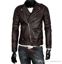 long white leather motorcycle jacket Canada - Mens Fashion PU Leather Motorcycle Jackets Lapel Neck British Brown White Black Jacket Male Long Sleeve Leather Jackets S-5XL