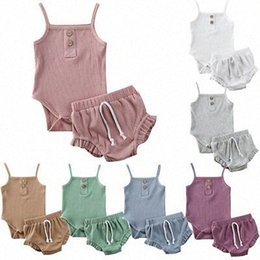 knitting baby vest UK - 2020 2020 Baby Summer Clothing Newborn Baby Girl Solid Clothes Knitted Vest Crop Tops Vest Shorts Pants Ribbed Outfit Xo3Y#
