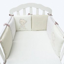 cotton baby bedding sets UK - 6Pcs Lot Baby Bed Protector Crib Bumper Pads Baby Bed Bumper In The Crib Cot Safety Cotton Blend Bedding Set Rail ZQ4R#