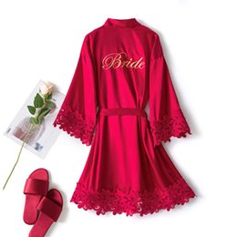 Wholesale lingerie bride for sale - Group buy Satin Embroidery Letter Robe New Lace Bathrobe Women Lingerie Bride Bridesmaid Wedding Nightwear Kimono Gown Home Clothes