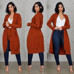 Wholesale long belted cardigan sweater for sale - Group buy Women Belt Knit Cardigan Autumn Spring Long Sleeve Solid Color V Neck Sweater Ladies Long Coat
