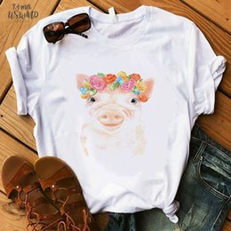 pig shirts 2020 - Coffee T Shirt Fashion Lady Cute Pet Pig T Shirt Women Summer Short Tops Girl Hipster T Shirts cheap pig shirts