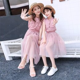 matching mommy daughter shirts UK - Mother Daughter Clothes Dress Set New Mommy and Me Fashion Mesh Shirt Skirt for Summer Family Matching Clothing Sets