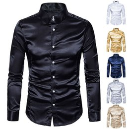 male satin shirts Australia - New Men Satin Silk Long Sleeve Turn-down Collar Casual Male Shirt with Ruffles Vintage Wedding Dress Plus Size Shirts