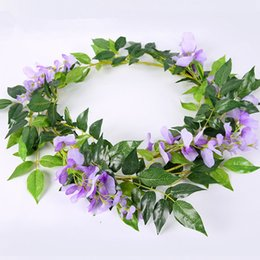 plastic green leaf vines Canada - 2M Artificial Fake Flowers Creeper Decorative Rattan Fake Leaf Vine Leaf Plastic Simulation Green Leaf Water Pipe Ceiling Wedding Decoration