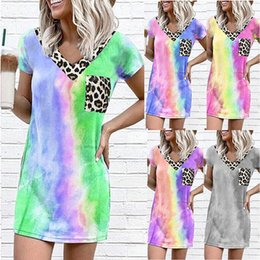 women s cotton tea dresses UK - Fashion Women Tie-dye Dresses Leopard Print One Piece Rainbow Skirts Summer Short Sleeve High Quality Clothes Outdoors Casual Dresses Top